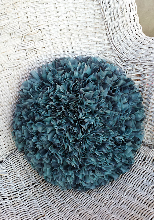 Blue Rose Crochet Pillow