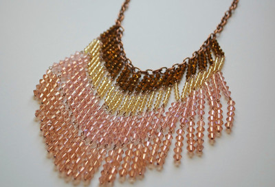 Desert Sunset Crystal Fringe Necklace