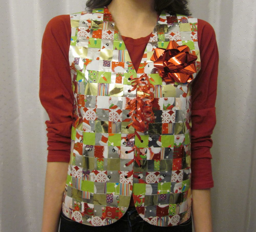 Recycled Wrapping Paper Ugly Sweater Vest | AllFreeHolidayCrafts.com