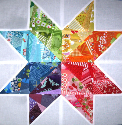 Scrappy Rainbow Star Quilt Block Favequilts Com