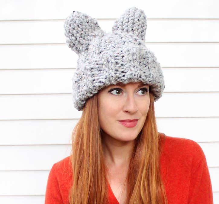 Snowy cat hat - Free cat hat knitting pattern ...