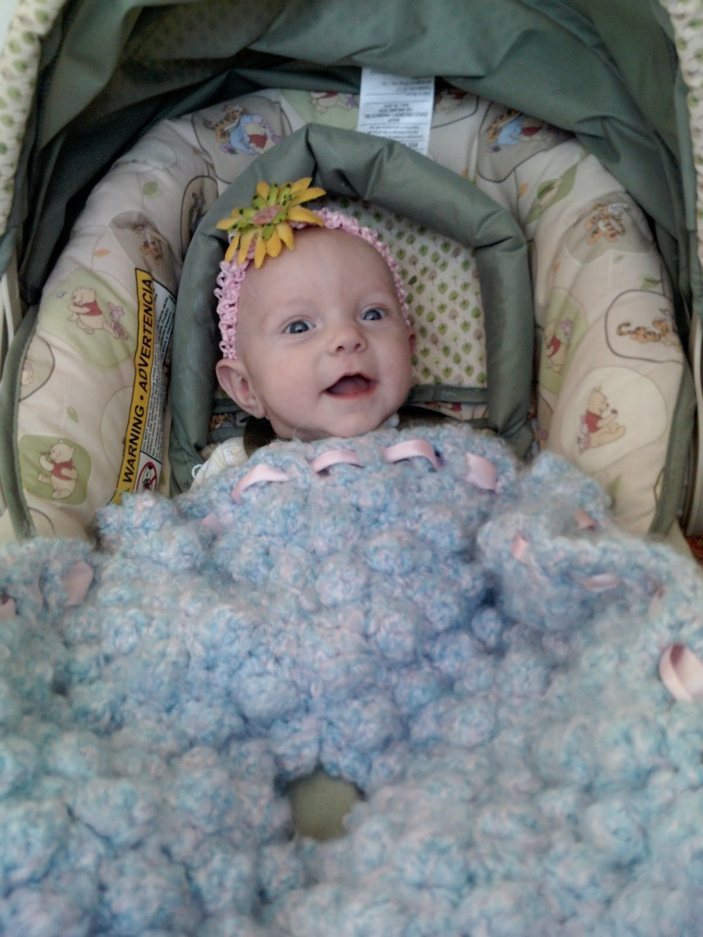 Free Crochet Pattern Baby Carrier : Car Seat Bobble Blanket AllFreeCrochet.com