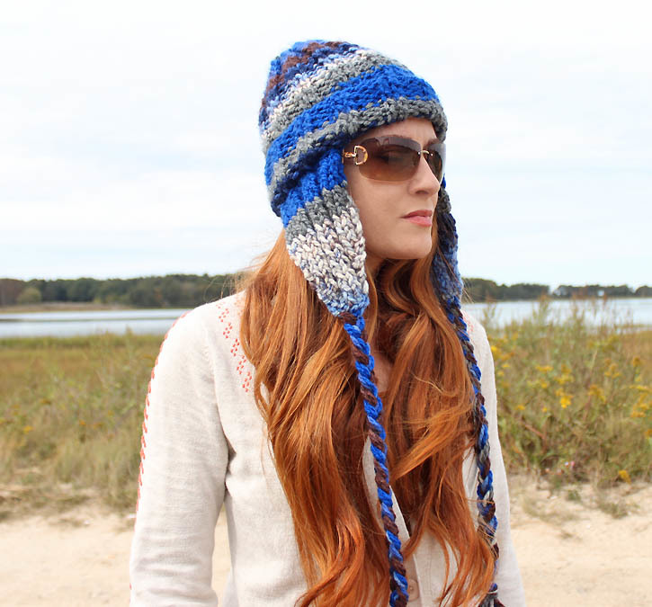 Striped Earflap Hat Allfreeknitting
