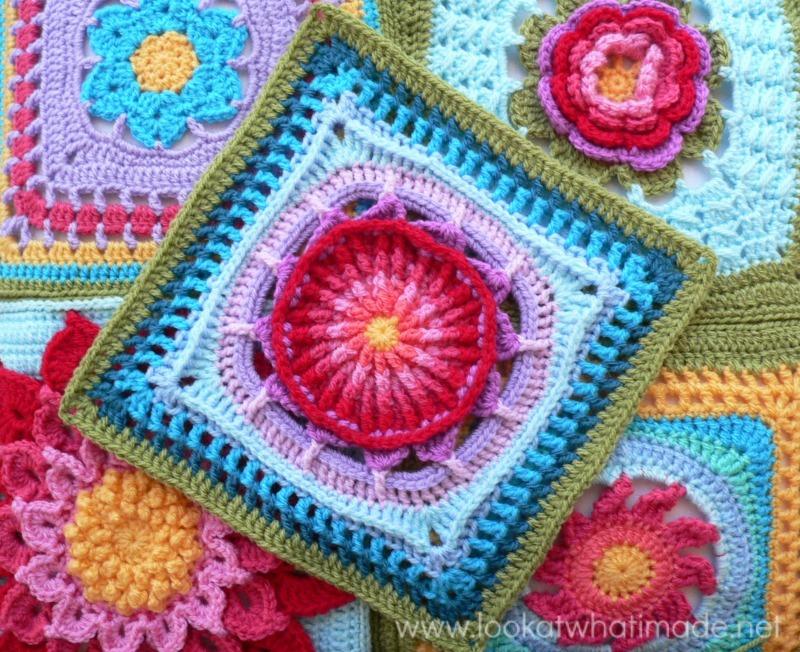 Crochet Granny Square : Prince Protea Crochet Granny Square AllFreeCrochetAfghanPatterns.com