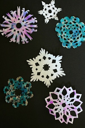 Colorful Newspaper Snowflakes