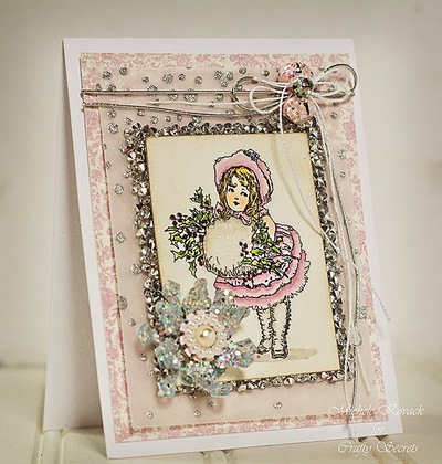 Most Gorgeous Sparkly Pink Winter Card