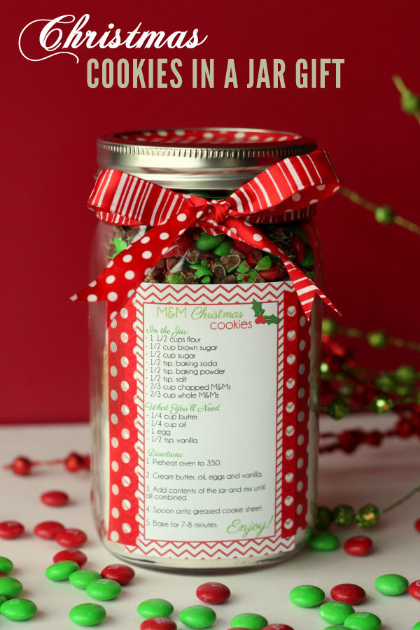 Christmas m&m gift jar