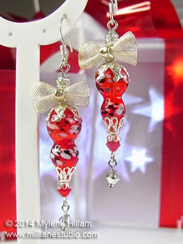 Bright Red Christmas Ornament Earrings