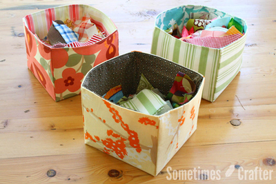 Adorable Scrap Fabric Basket Organizers