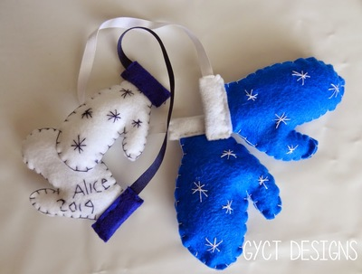 Mini Mittens Sewn Christmas Ornament