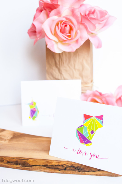 Colorful Printable Origami Animal Cards