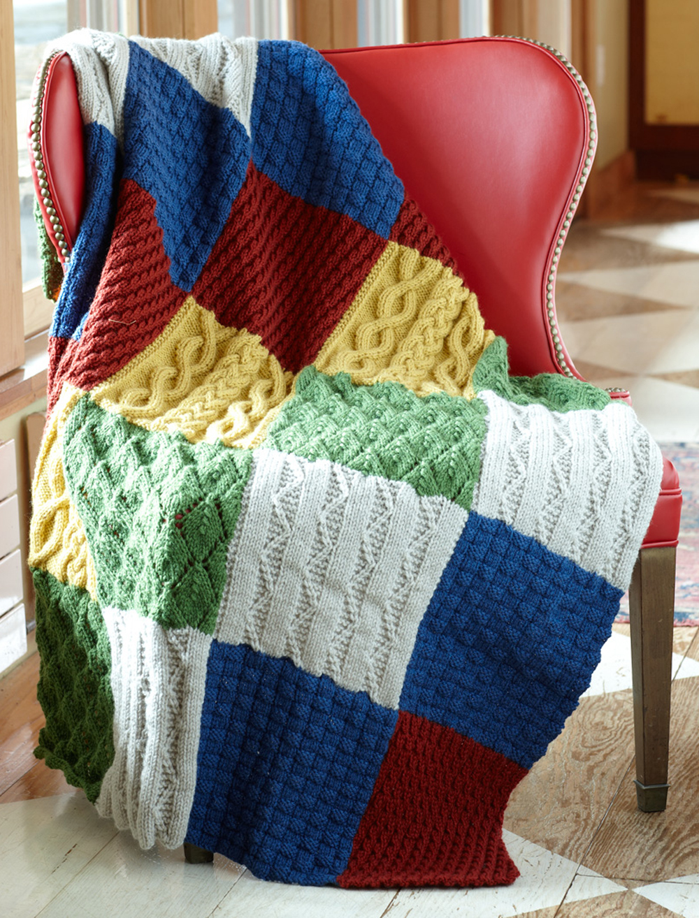 Patch Sampler Throw | AllFreeKnitting.com