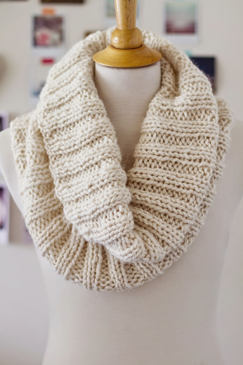 Easy Cowl Knitting Patterns : Cozy Ribbed Cowl AllFreeKnitting.com