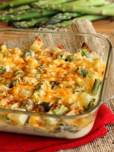 Cheesy Baked Potato and Asparagus Casserole