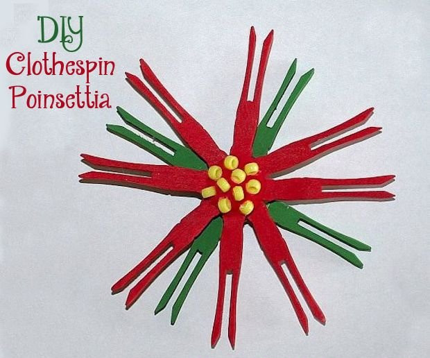 Diy clothespin poinsettia for Christmas clothespin crafts