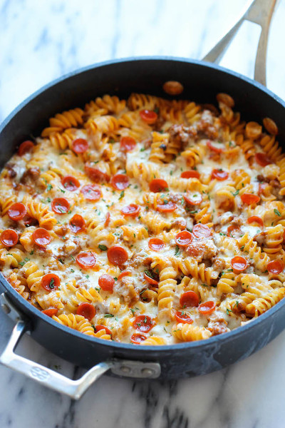 One Pot Italian Sausage Pizza Bake