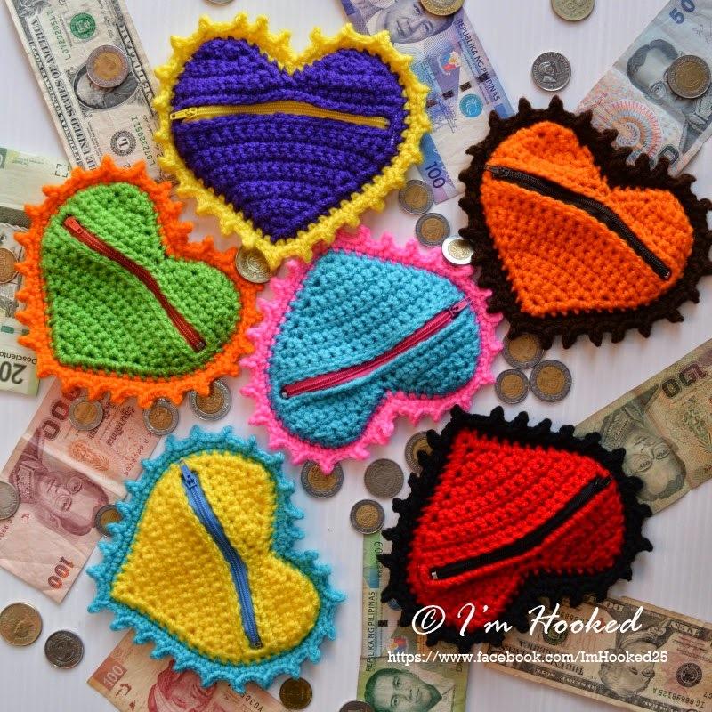 Crochet Heart Coin Purse AllFreeCrochet.com