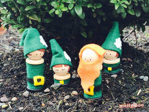 Whimsical Leprechaun Peg Dolls
