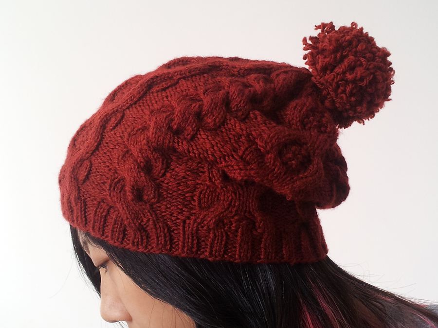 Free Knitting Pattern For Baby Slouch Hat : Cabled Slouch Beanie AllFreeKnitting.com