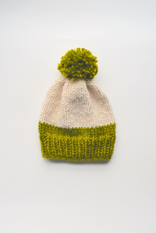 Lime Slouchy Knit Hat