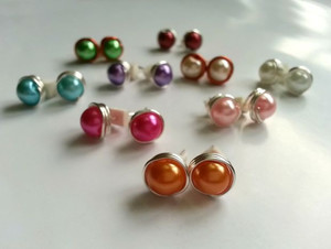 Vibrant Wire Wrapped Stud Earrings