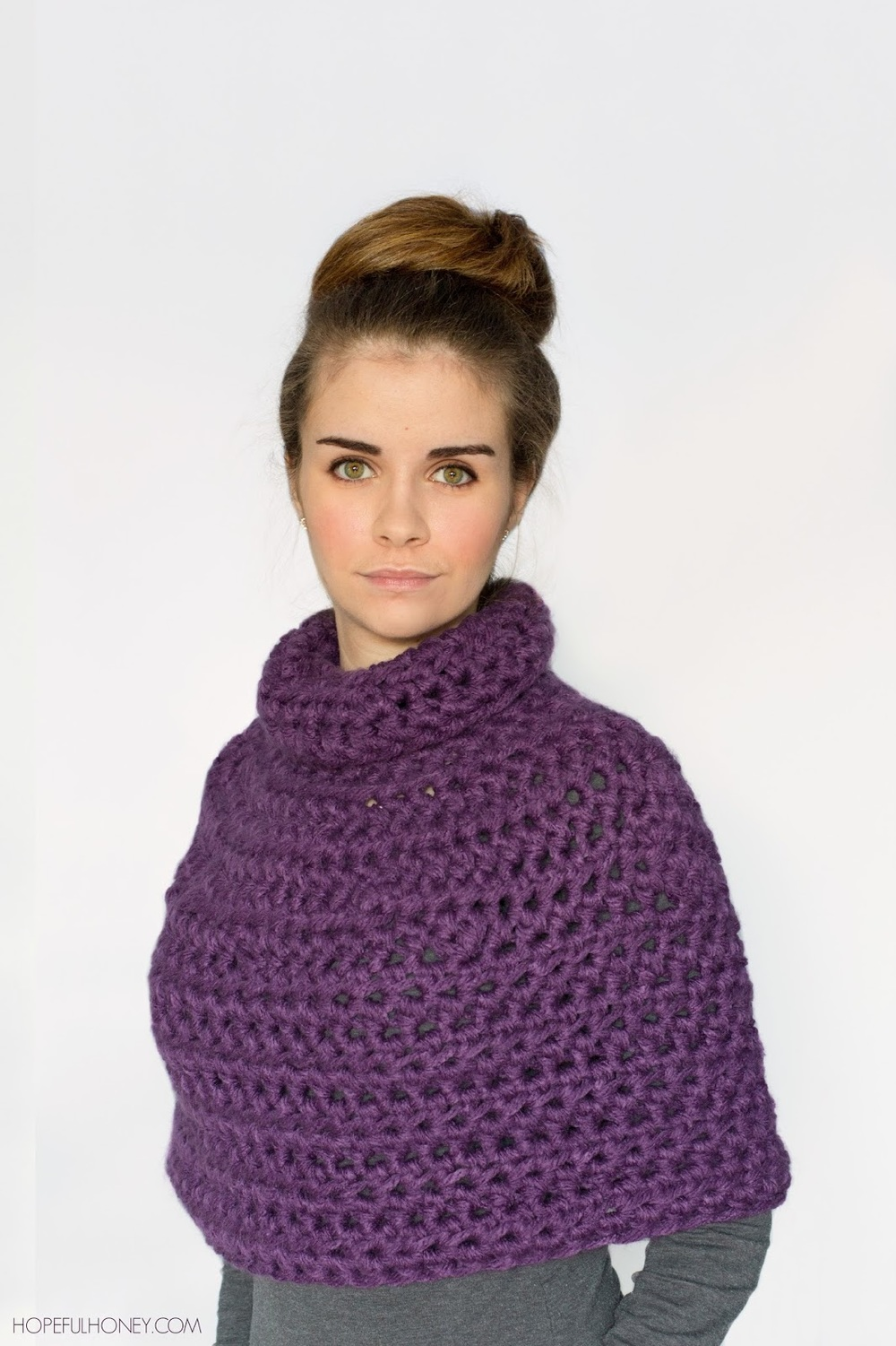 Purple Crochet Capelet Pattern | FaveCrafts.com