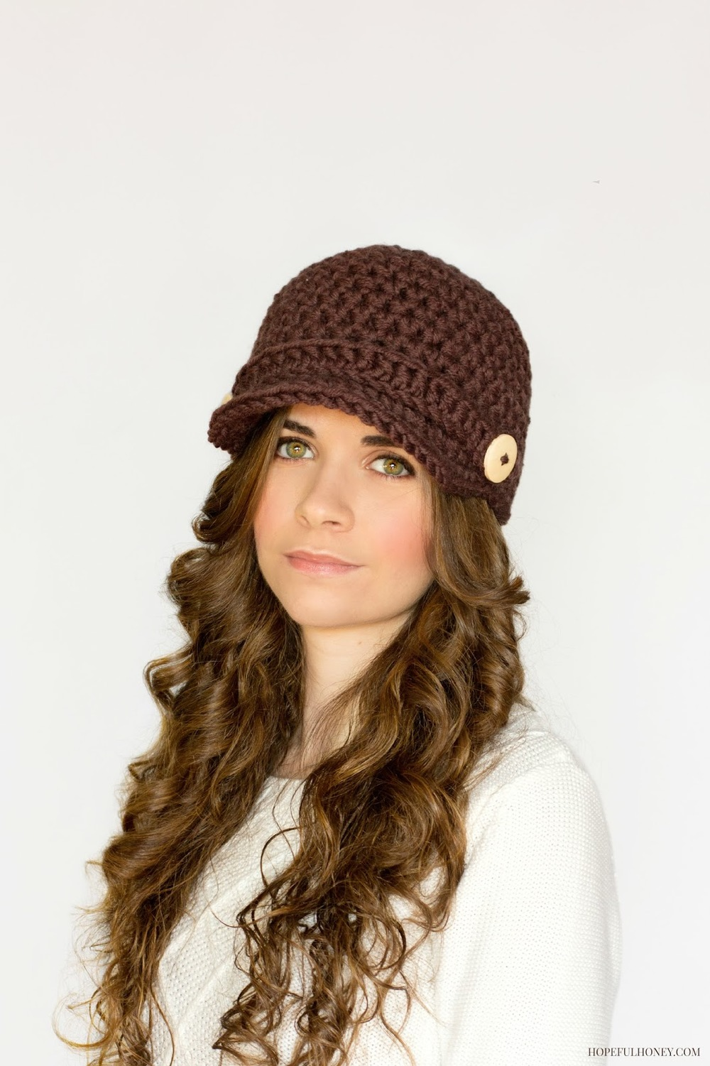 Brown Crochet Newsboy Hat Pattern | FaveCrafts.com