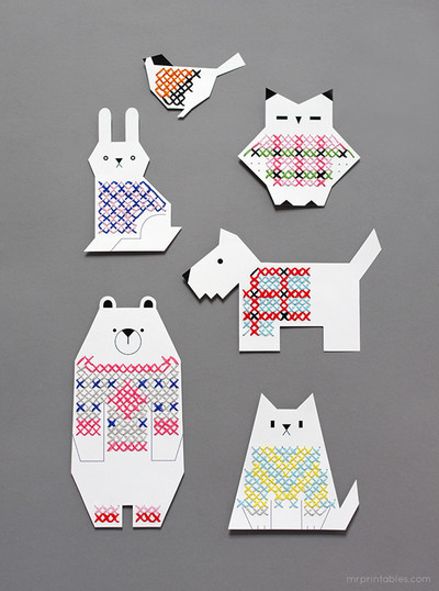 Adorable Animal Printable Cross Stitch Cards