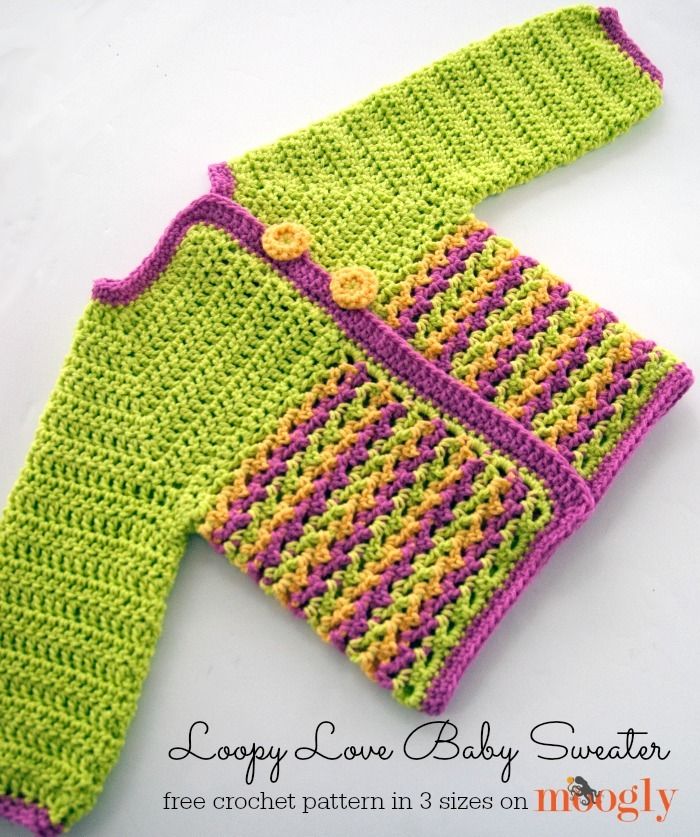 Knitting Patterns For Loopy Cardigan : Loopy Love Baby Sweater AllFreeCrochet.com