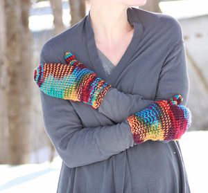 Lucky Rainbow One Skein Mittens