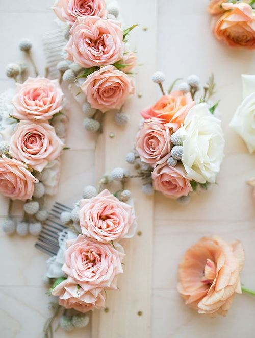 Blushing Bride Rose Hair Slide AllFreeDIYWeddingscom