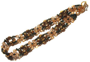 Topaz and Bronze Beaded Bangle