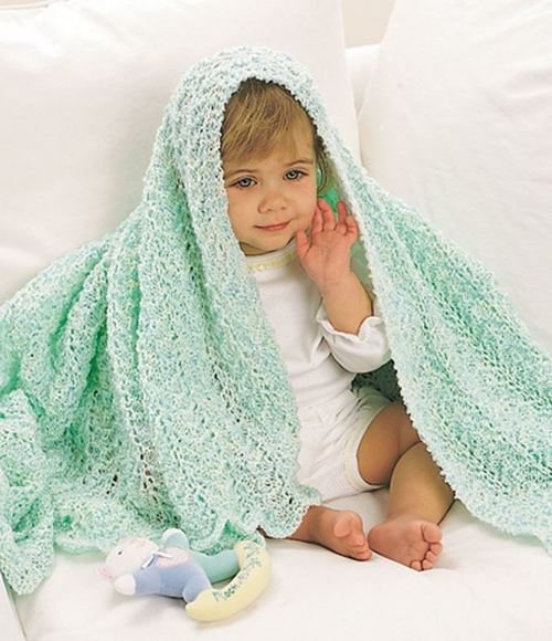 Minty Fresh Lace Baby Blanket