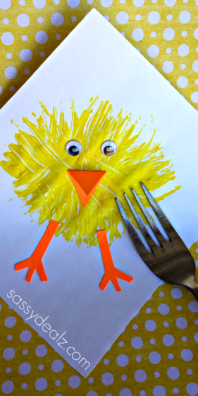 Easter Chick Fork Painting Project AllFreeKidsCrafts