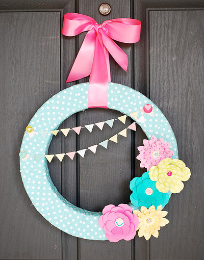 Paper flowers wreath for spring allfreepapercrafts paper flowers wreath for spring mightylinksfo