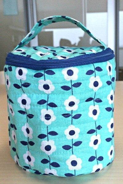 Pocketed Round DIY Makeup Bag | AllFreeSewing.com