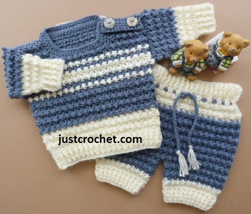 Boys Crochet Sweater Pants Set Allfreecrochet