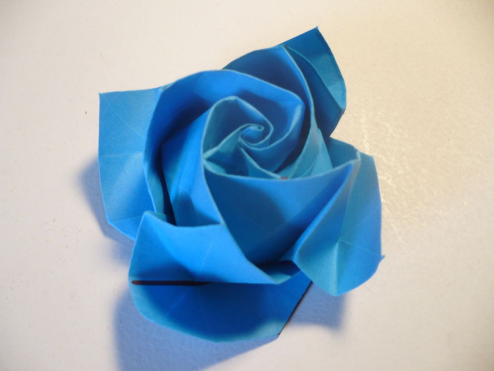 beautiful blue origami rose allfreepapercraftscom