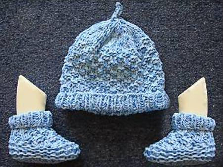 Two Needle Blocks Baby Booties Allfreeknitting