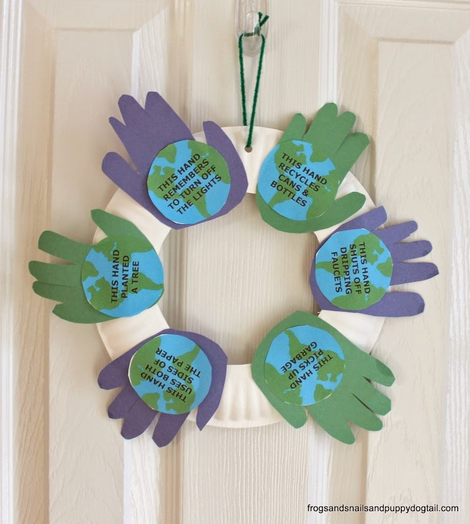 Handprint Earth Day Wreath AllFreeKidsCrafts