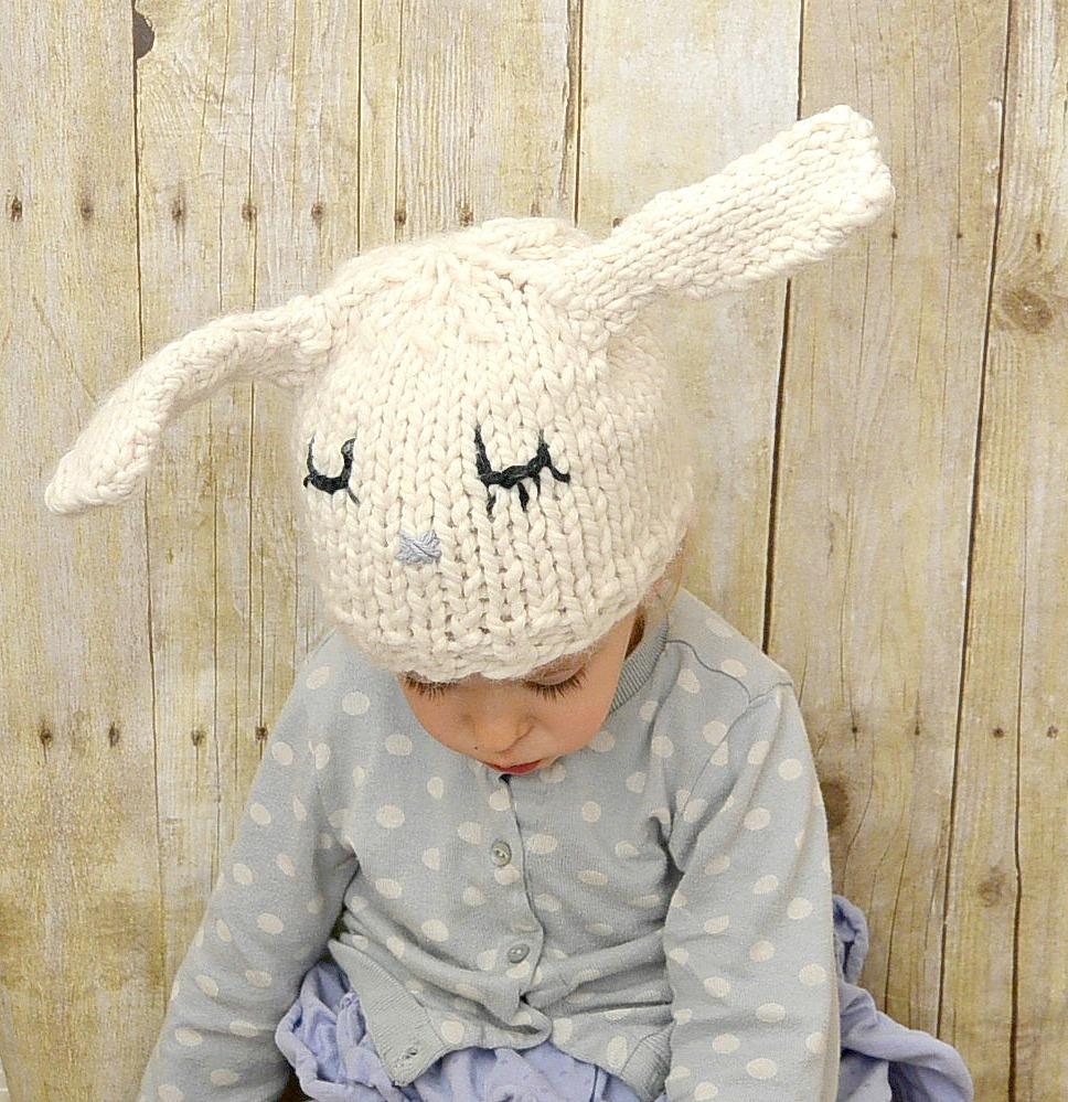 Super Cute Bunny Knit Hat | AllFreeKnitting.com