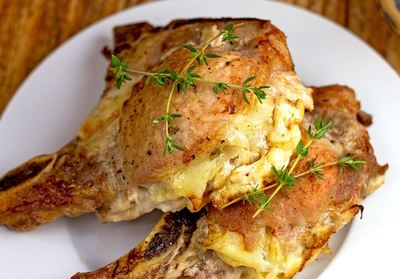 Cheesy Potato Stuffed Pork Chops Recipe