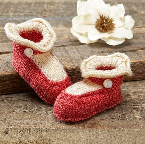 Mary Jane Baby Booties Allfreeknitting