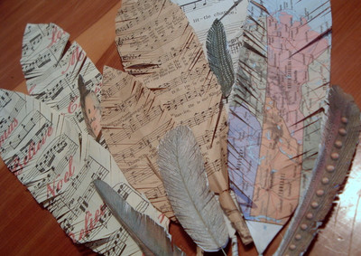 Sheet Music Paper Feathers