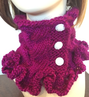 Raspberry Ruffles Cowl Knitting Pattern
