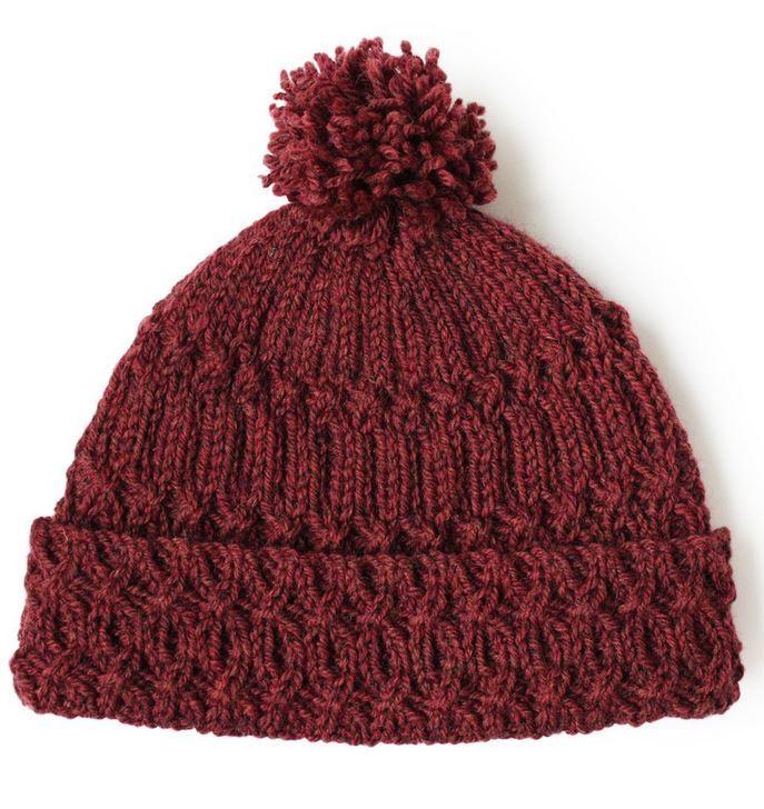 Marsala Pom Pom Knit Hat Pattern Allfreeknitting