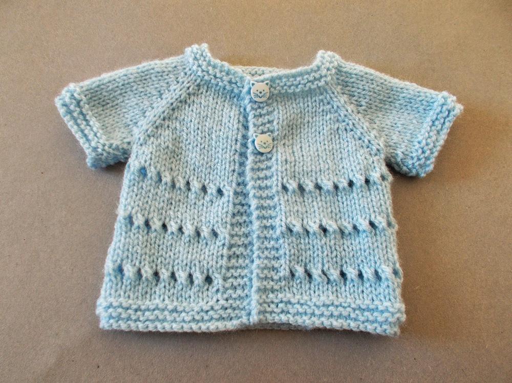 Favorite Preemie Baby Cardigan | AllFreeKnitting.com