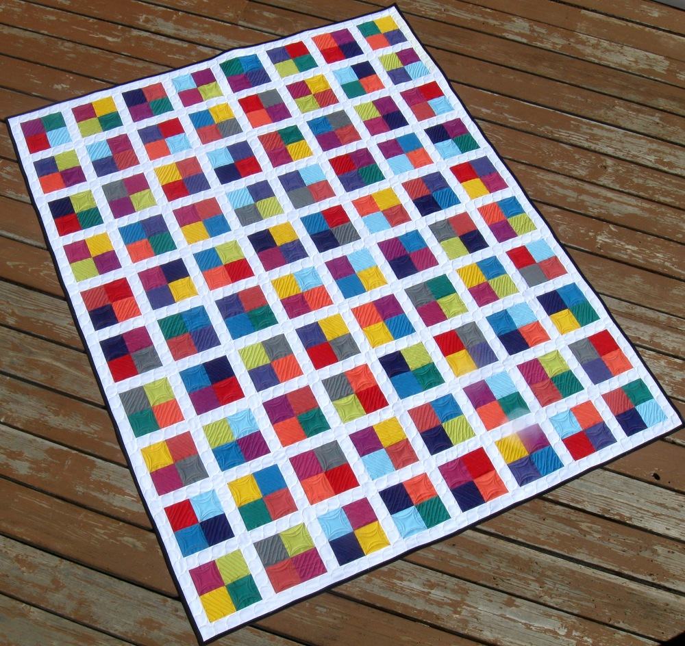 Square Quilt Patterns Free : Four Square Free Quilting Pattern FaveQuilts.com