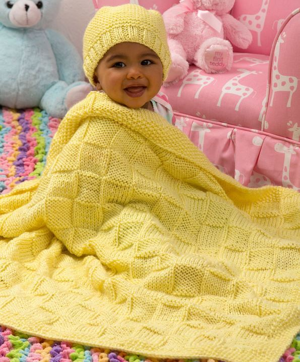 Sunshine Blanket And Hat Baby Set Allfreeknitting Com