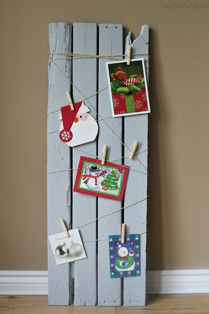Reclaimed Wood Card Display Board DIY Christmas Decor